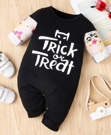 Barboteuse noire à imprimé automne bébé fille