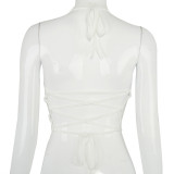 Summer White Open Back Sexy Halfter Crop Top