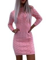 冬のラウンドネックミニセータードレス