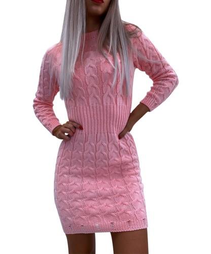Kış Yuvarlak Yaka Mini Triko Elbise