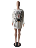 Herbstliches afrikanisches Druck-O-Ausschnitt-Hemdkleid