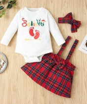 Baby Girl Print Weihnachten 3pc Rock Set