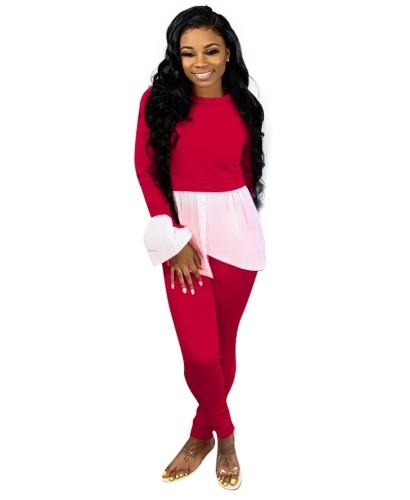 Sonbahar Günlük Beyaz ve Kırmızı Peplum Gömlek ve Pantolon Seti