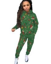 Weihnachtsdruck Frauen Hoodie Sweatsuit