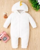 Macacão de lã de inverno para bebê com capuz