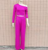 Autumn Casual Purple Crop Top und Loose Pants Set