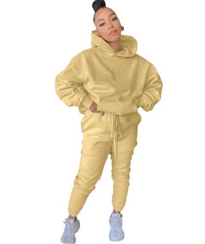 Autumn Solid Color Loose Hoody Trainingsanzug