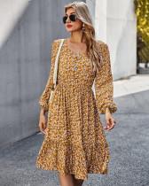 Autumn Elegant Floral V-Neck Long Dress