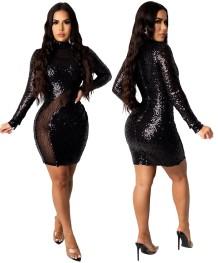 Облегающее мини-платье с пайетками для осенней вечеринки