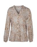 Herbstdruck V-Ausschnitt Button Up Loose Shirt