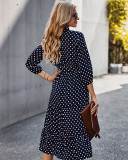 Herbst Elegant Polka Wrapped Long Dress
