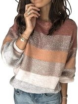 Herbstlicher Pullover mit O-Ausschnitt und Kontrast