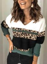Suéter de otoño con cuello en V estampado de leopardo en contraste