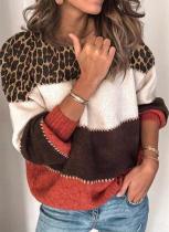 Suéter de otoño con cuello redondo y estampado de leopardo en contraste