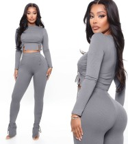 Autumn Party Sexy Solid Color Strings Crop Top and Pants Set