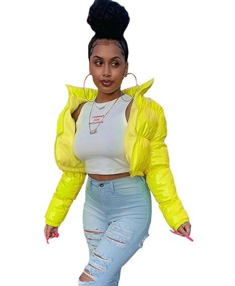 Jaqueta curta de inverno de cor sólida