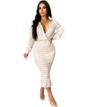 Autumn Party White Sexy Wrapped Upper Ruched Midi Dress