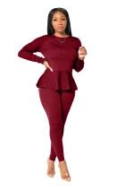 Autumn Casual Plain Zweiteiliges Schößchenhemd und enges Hosen-Set