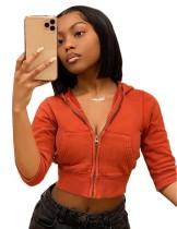 Autumn Solid Color Zip Up Short Hoody Jacket