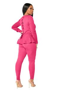 Conjunto de pantalones ajustados y camisa peplum de dos piezas de otoño informal