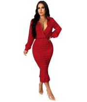 Autumn Party Red Sexy Wrapped Upper Ruched Midi Dress