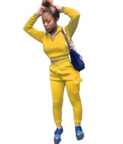 Autumn Solid Color Crop Top und Pocketed Pants Sweatsuit