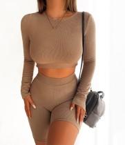 Herbst Solid Color Sexy Bodycon Crop Top und Shorts Set
