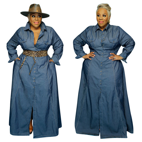 Plus Size Autumn Blue Denim Long Maxi Dress