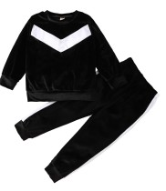 Set camicia e pantaloni neri in velluto autunnale per bambino