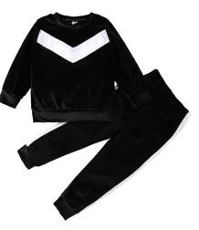 Conjunto de camisa y pantalón negro de terciopelo de otoño para niños