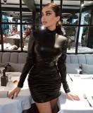 Mini vestido de club fruncido de cuero negro sexy de invierno