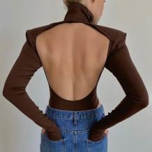 Autumn Sexy Cut Out Back Rollkragen Plain Bodysuit