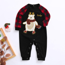 Noel Baskı Bebek İçin Aile Pijama Romper