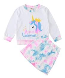 Kinder Mädchen Herbst Cartoon Print Shirt und Rock Set