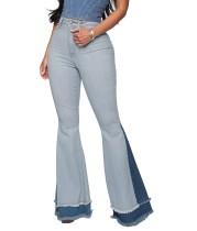 Stilvolle Patchwork Flare Jeans mit hoher Taille