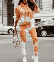 Felpa con cappuccio tie dye autunno street style