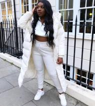 Winter Padded White Long Hoody Jacket