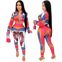 Ensemble chemisier et pantalon à imprimé africain assorti d'automne