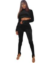 Autumn Sexy Velvet Crop Top and High Waist Pants Set