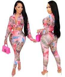 Herfst Afrikaanse bijpassende print blouse en broek set