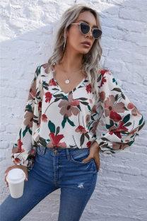 Sonbahar Günlük Çiçekli V Yaka Gömlek