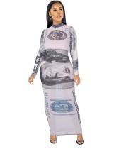 Осенняя вечеринка, сексуальное длинное платье с принтом денег