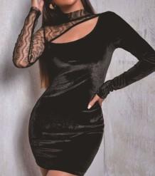 Осенняя вечеринка сексуальное черное бархатное мини-платье в стиле пэчворк