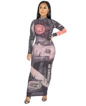 Herfstfeest Sexy lange jurk met geldprint