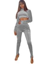 Set di pantaloni a vita alta e top in velluto sexy autunnale