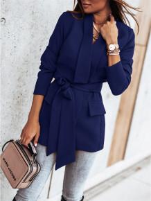Blazer long élégant de couleur unie d'automne avec ceinture