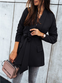 Herfst effen kleur elegante lange blazer met riem