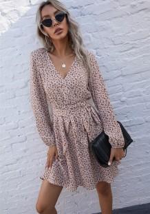 Sonbahar Günlük Çiçekli V Yaka Fırfırlı Patenci Elbisesi