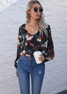 Herfst casual bloemen V-hals shirt