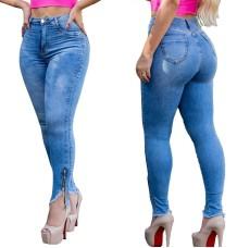 Стильные синие узкие джинсы на молнии с низом